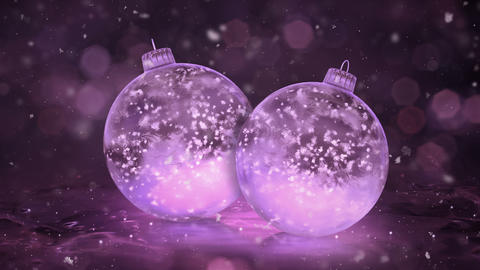 Two Rotating Christmas Pink Ice Glass Baubles Decorations snow background loop Animation
