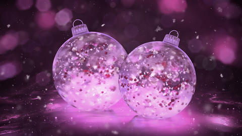 Two Rotating Christmas Pink Ice Baubles snow colorful petals background loop Animation