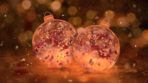 Two Christmas Golden Ice Glass Baubles snowflakes red petals background loop Animation