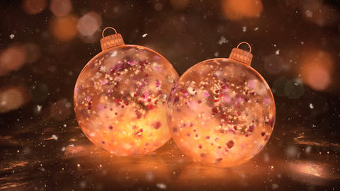 Two Christmas Golden Ice Glass Baubles snow colorful petals background loop Animation