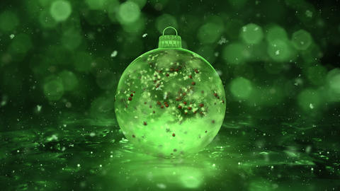 Christmas Green Ice Glass Bauble Decoration snowflakes red balls background loop Animation