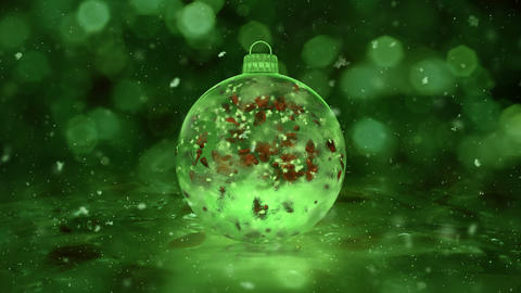 Christmas Green Ice Glass Bauble Decoration snow red petals background loop Animation
