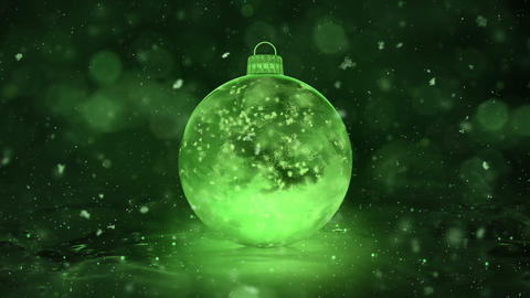 Christmas New Year Green Ice Glass Bauble Decoration snowflakes background loop Animation