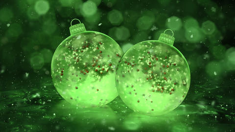 Two Christmas Green Ice Glass Baubles Decorations snow red balls background loop Animation
