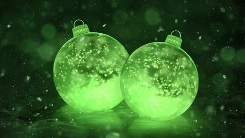Two Christmas New Year Green Ice Glass Baubles Decorations snow background loop Animation