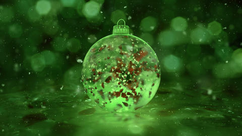 Christmas Rotating Green Ice Glass Bauble snowflakes red petals background loop Animation
