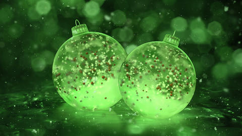 Two Rotating Christmas Green Ice Glass Baubles snow red balls background loop Animation