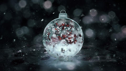 Christmas Grey Noir Ice Glass Bauble Decoration snow red petals background loop Animation