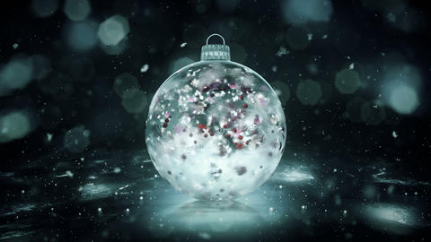 Christmas Grey Noir Ice Glass Bauble snow colorful petals background loop Animation