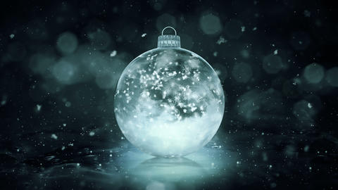 Christmas Grey Noir Ice Glass Bauble Decoration snowflakes background loop Animation