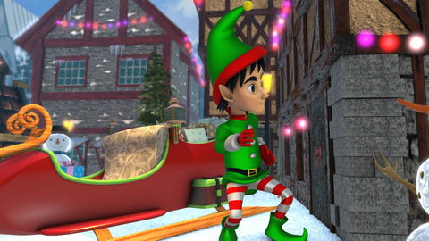 Cute elf dancing next to Santa´sleight in a Christmas village. Seamless funny Animation
