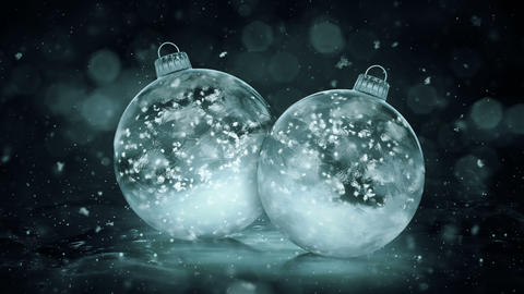 Two Rotating Christmas Grey Noir Ice Glass Baubles snowflakes background loop Animation