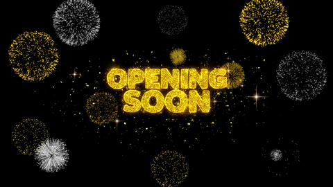 Opening Soon Golden Text Blinking Particles with Golden Fireworks Display Footage