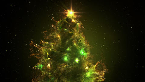 Green Yellow Nebula Christmas Fir Tree background seamless loop 4k resolution Animation