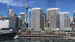 SYDNEY – NOVEMBER 2015: Panoramic view of Darling Harbour. The city attracts 1 Footage