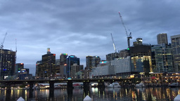 SYDNEY – NOVEMBER 2015: Panoramic view of Darling Harbour at night. The city a Footage
