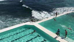 SYDNEY - NOVEMBER 10, 2015: Bondi Pools on a sunny day. The pools are a famous a Footage
