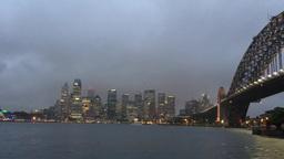 Sydney Harbour, rainy night view from Kirribilli Footage