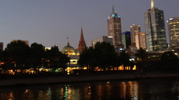 MELBOURNE - NOVEMBER 2015: City night skyline over Yarra river. Melbourne attrac Footage
