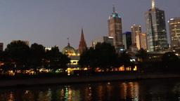 MELBOURNE - NOVEMBER 2015: City night skyline over Yarra river. Melbourne attrac Footage
