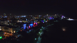 Aerial View Of Miami Beach Ocean Drive At Night With Neon Lights stock footage