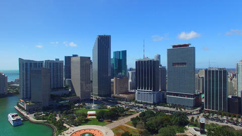 Wonderful Aerial View Of Downtown Miami Buildings On A Sunny Day stock footage