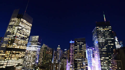 Midtown Manhattan Skyscrapers at Night from Rooftop. Business concept Footage