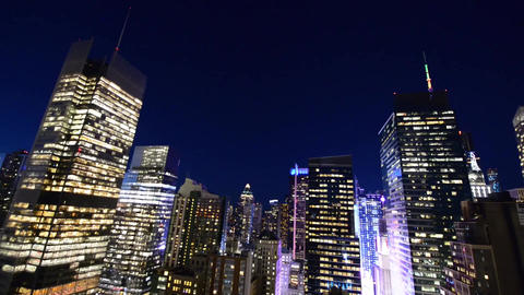Midtown Manhattan Skyscrapers at Night from Rooftop. City and evolution concept Footage