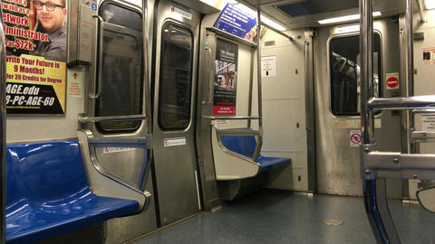 NEW YORK CITY – OCTOBER 2015: New York City Subway Moving Interior. Subway is  Live Action
