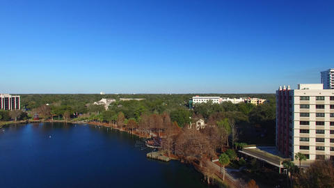 Orlando, Florida. Aerial view of the city from Lake Eola Park Footage