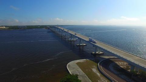 Sanibel causeway, aerial view Footage