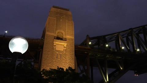 Sydney Harbour Bridge at night upward view Footage