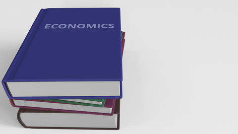 Book cover with ECONOMICS title. 3D animation Live Action