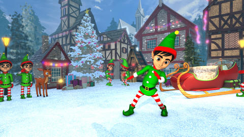 Cute elf dancing salsa in a Christmas village. Seamless funny Christmas Animation
