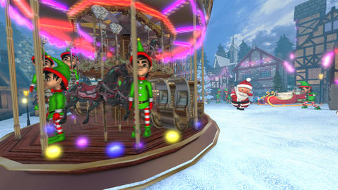 Cute Santa dancing salsa in a Christmas village with elfs and a carrousel. Animation