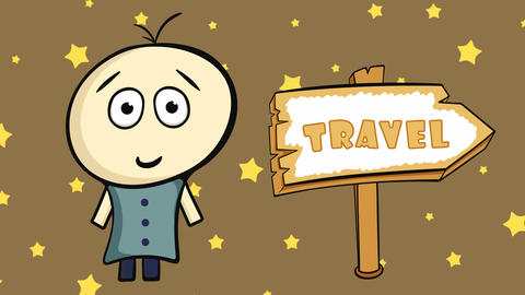 Character on brown and travel sign Animation