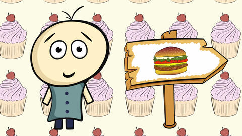 Character on cakes and burger sign Animation