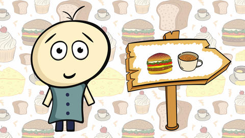 Character on food and fast food Animation
