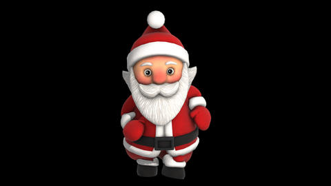 Cute Santa dancing salsa isolated with alpha channel. Seamless funny Christmas Animation