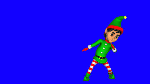 Cute elf dancing salsa isolated on blue screen. Seamless funny Christmas Animation
