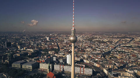 Aerial view of Berlin centre cityscape as seen from Alexanderplatz area. Germany Live Action