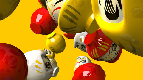 Daruma dolls on yellow background Animation