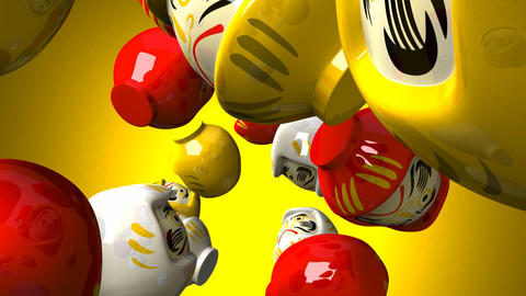 Daruma dolls on yellow background CG動画