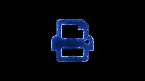 Symbol print. Blue Electric Glow Storm. looped video. Alpha channel black Animation