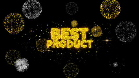 Best Product Golden Text Blinking Particles with Golden Fireworks Display Footage