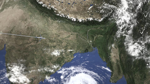 Airplane heading to Dhaka, Bangladesh from west on the map. Intro 3D animation Footage