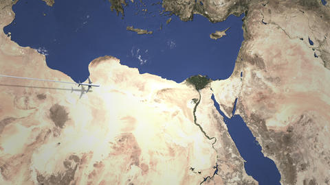 Airliner flying to Cairo, Egypt from west on the map. Intro 3D animation Footage