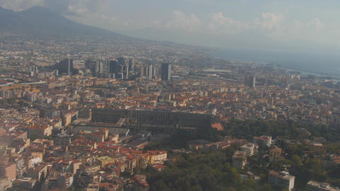 Cityscape of Naples from landing airplane. Aerial view of big city Footage