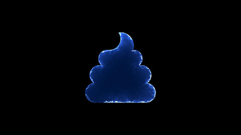 Symbol poop. Blue Electric Glow Storm. looped video. Alpha channel black Animation