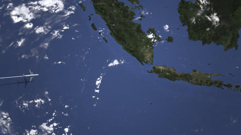 Airliner flying to Jakarta, Indonesia from west on the map. Intro 3D animation Footage